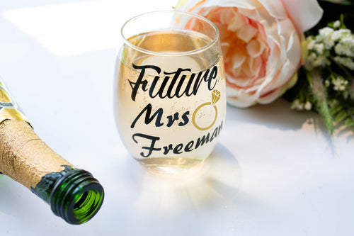 Personalized Engagement Wine Glass for Future Mrs Gift