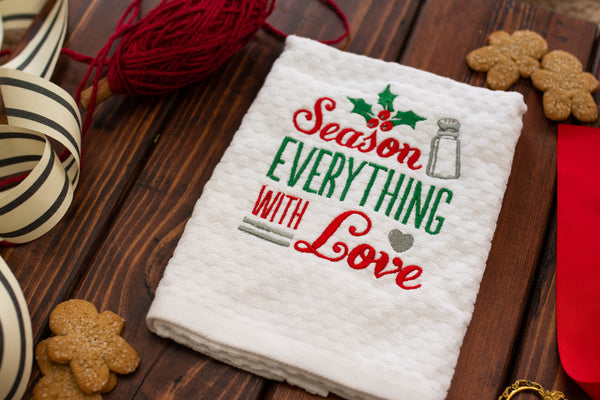 Season Everything with love Personalized Holiday Home Decor Towel
