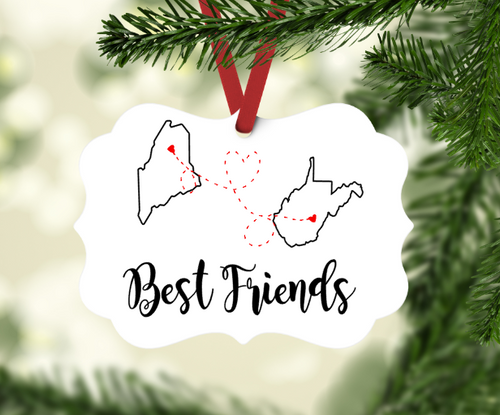 Long Distance Best Friends Christmas Ornament Gift