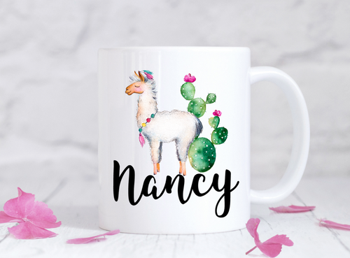 Personalized Llama Cactus Dishwasher Safe Coffee Mug