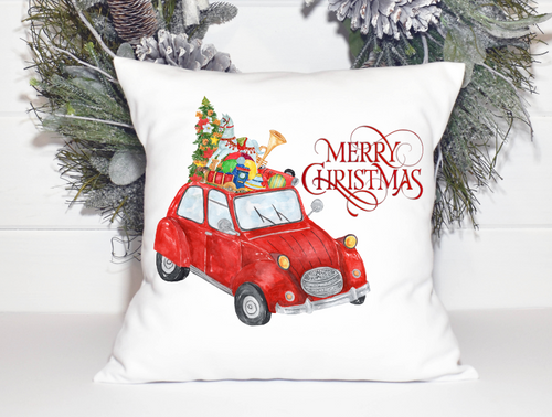 Merry Christmas Home Decor Christmas Pillow Cover with Red Vintage Car