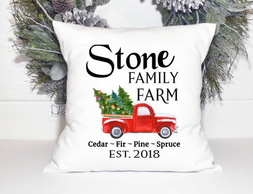 Modern Farm House Personalized Christmas Pillow Cover