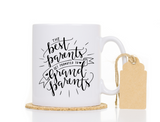 The Best Parents Get Promoted to Grandparents white mug with tag on white background