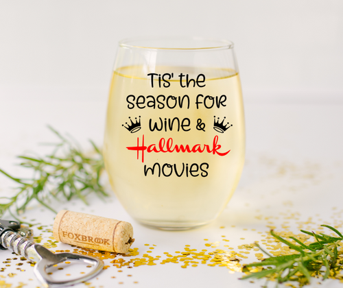 Tis the Season for Hallmark Christmas Movie Stemless Wine Glass
