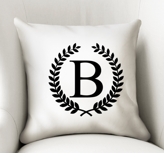 Monogram Laurel Wreath Home Decor - Custom Wedding Gift