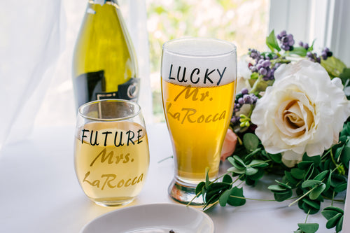 Lucky Mrs Beer Mug and Future Mrs Stemless Wine Glass