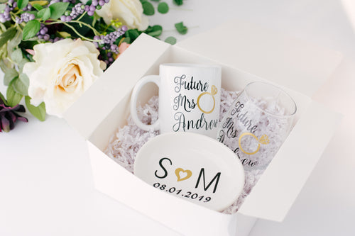 Future Mrs Wine Glasses and Mug Engagement Gift set for Bride