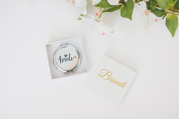 Bridal Party Pocket Mirrors with Personalized Gift Box