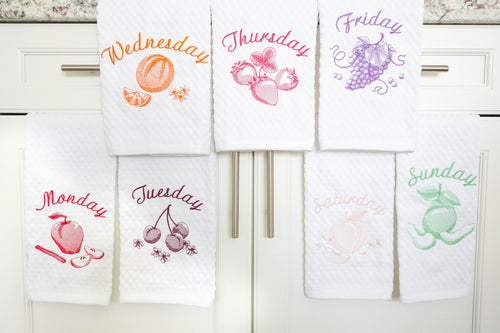 Days of the week Kitchen Towel Housewarming or Wedding Gift Set