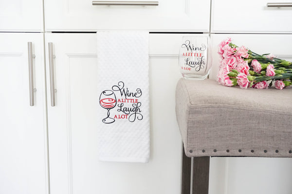 Wine a little laugh a lot kitchen towel and wine glass gift set