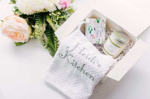 Personalized Gift Set with Llama mug, Kitchen towel and Vegan Soy Candle