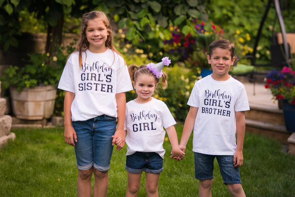 sister, brother and little girl wearing birthday t-shirts