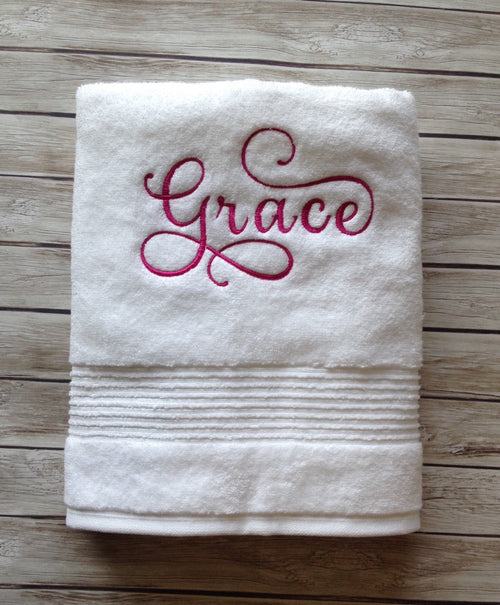 Grace pink embroidered white cotton towel