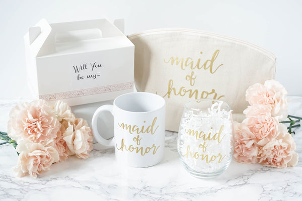 Will you be my maid of honor mug, glass, tote and box
