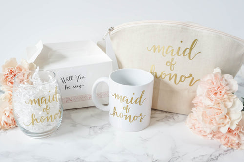Will you be my maid of honor mug, glass, tote and box with pink flowers