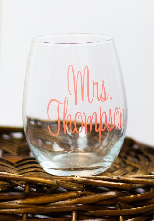 Personalized Mrs Stemless Wine Glass