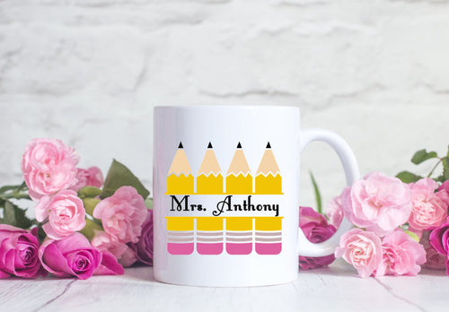 Personalized Teachers Pencil Mug - Custom Gift for Teacher - Christmas Gift for Teacher
