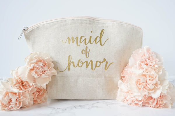 Cosmetics Bag for Bridesmaid, Maid of Honor or Matron of Honor