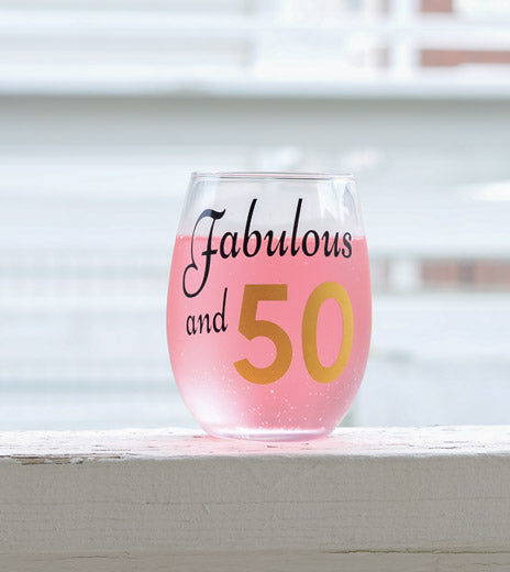 Fabulous at 50 Birthday Party Favors Wine Glass