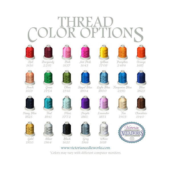 Thread Color Options for Victoria Needleworks featuring 26 thread colors
