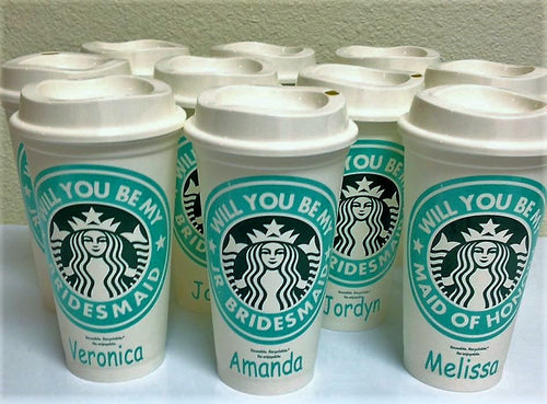 Personalized Will you be my Bridesmaid Starbucks Coffee Cup