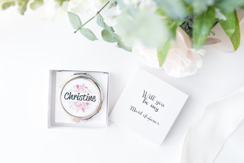 Personalized Bridesmaids Proposal Compact Mirror