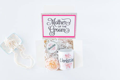 Wedding Party gift Box with Personalized Mug and and Compact Mirror