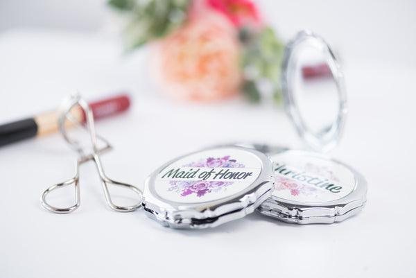 Split Floral Personalized Bridesmaids Compact Mirror