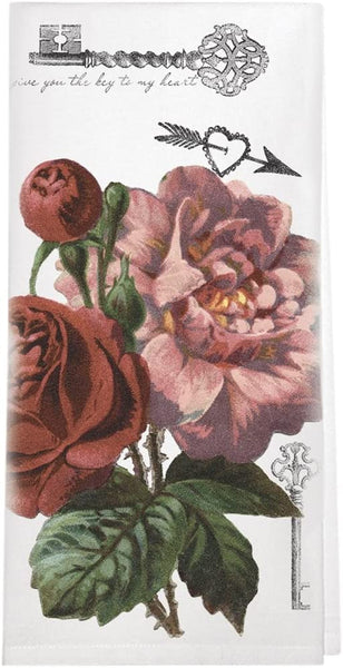 Valentine's Day Roses Tea Towel
