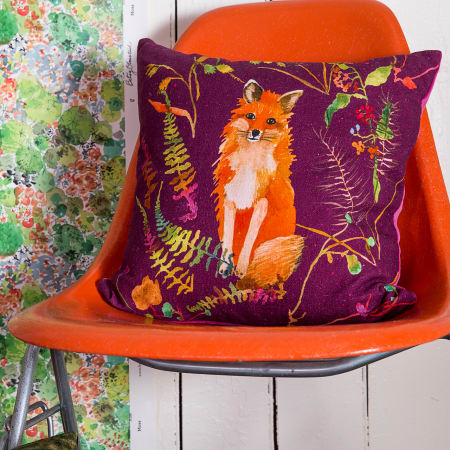 Fox in Plum Pillow