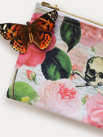 Skull With Roses Cosmetic Bag
