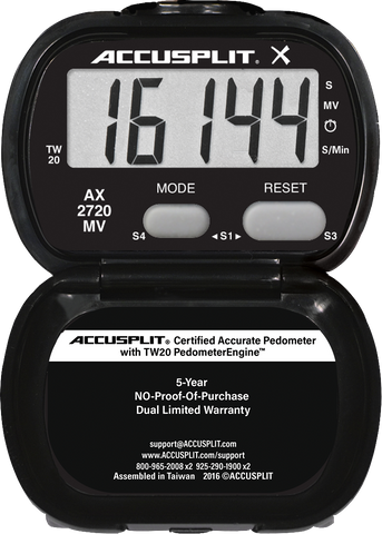 ACCUSPLIT AX2720MV Accelerometer Pedometer with Moderate to Vigorous Bouts of Activity Time