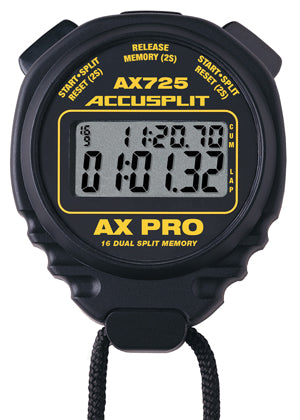 AX725 - AX PRO Memory Series Professional Stopwatches – 16 Memory Dual Split Stopwatch in Black Case