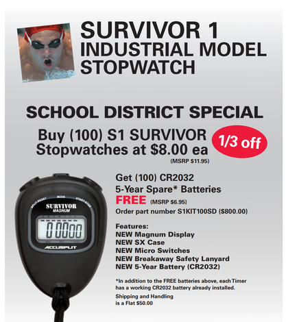 SURVIVOR 1 Industrial Model Stopwatch Package