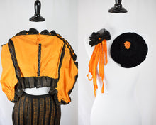 1890s Rare Victorian Orange & Black Silk Set