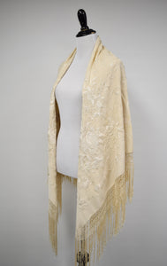 1930s Cream Silk Embroidered Piano Shawl