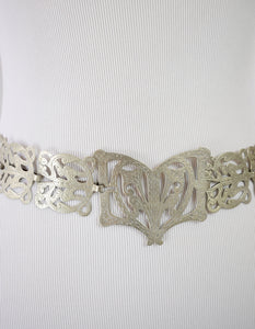 1910s Antique Art Nouveau Silver Nurse's Belt