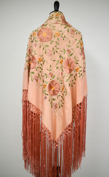 1930s Pink Silk Embroidered Piano Shawl
