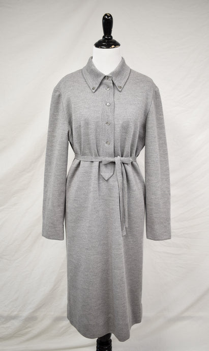 1970s Gray Buttoned Wool Dress