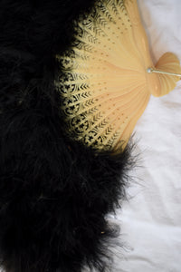 1920s Black Maribou Feather & Celluloid Fan