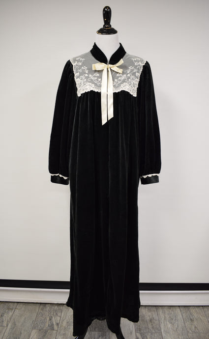 1990s Black Velour & Lace Housedress