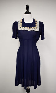 1940s Navy Blue Bib Collar Day Dress