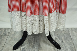 *ON HOLD* 1970s Red & White Gingham Lace-Up Maxi Dress