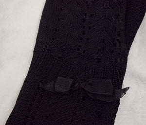 1910s Edwardian Black Silk Blend Mittens