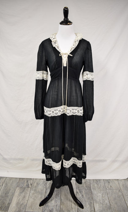 1970s Sheer Black Lace-Up Maxi Dress