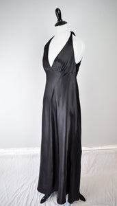 1990s Black Satin Low Back Nightgown