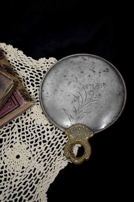 Antique Engraved Silver Hand Mirror