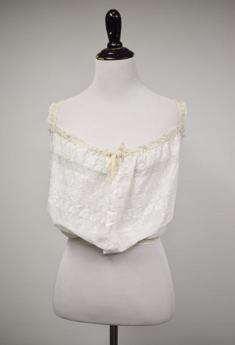 1910s Edwardian Embroidered Filet Lace Corset Cover
