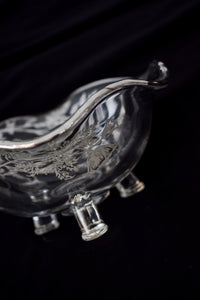 Vintage Silver Floral Glass Bowl