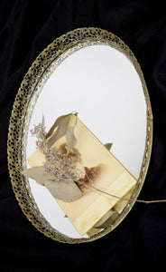 Vintage Gold Filigree Mirrored Vanity Tray